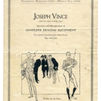 Joseph Vince Fencing Equipment Catalog