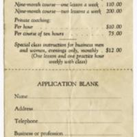 Price List & Application for Salle d'Armes Vince